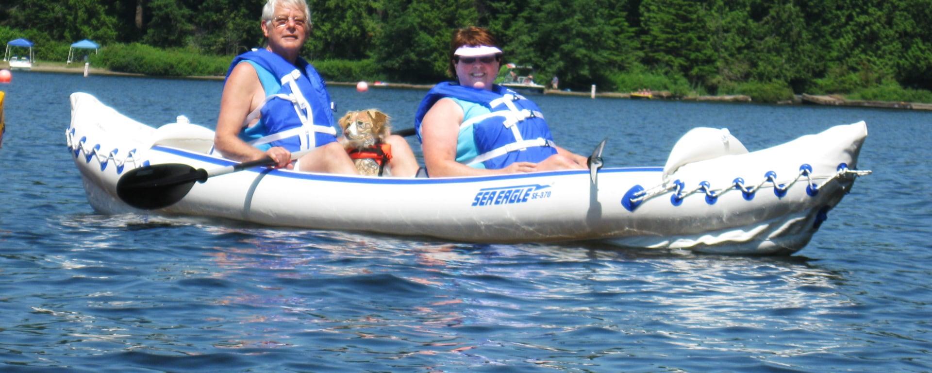 Couple riding kayak